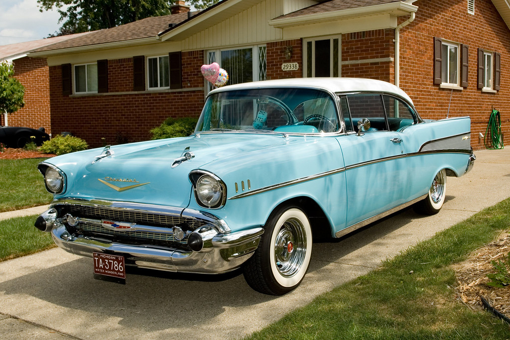 Description of . Name: Mike Lerchenfeldt Cutline: It is my parents', Jim and Sally Lerchenfeldt of Madison Heights, 1957 Chevy Bel Air.