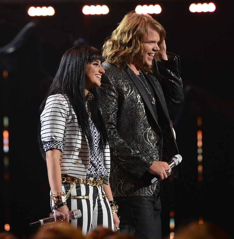 Description of . AMERICAN IDOL XIII: L-R:  Jena Irene and Caleb Johnson on AMERICAN IDOL XIII at the NOKIA THEATRE L.A. LIVE airing Tuesday, May 20 (8:00-9:00 PM ET / PT) on FOX.  CR: Michael Becker / FOX. Copyright 2014 / FOX Broadcasting.
