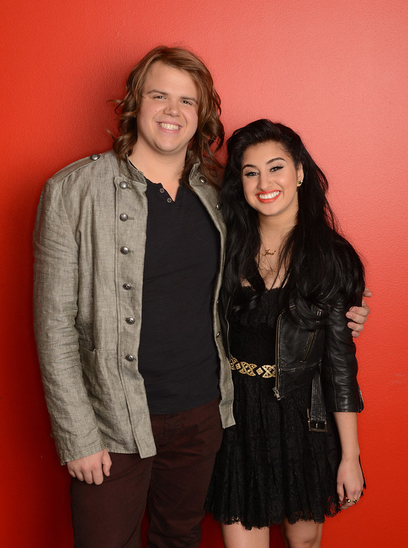 Description of . AMERICAN IDOL XIII:  The Final 2: L-R: Caleb Johnson and Jena Irene.  CR: Michael Becker / FOX. Copyright 2014 / FOX Broadcasting.