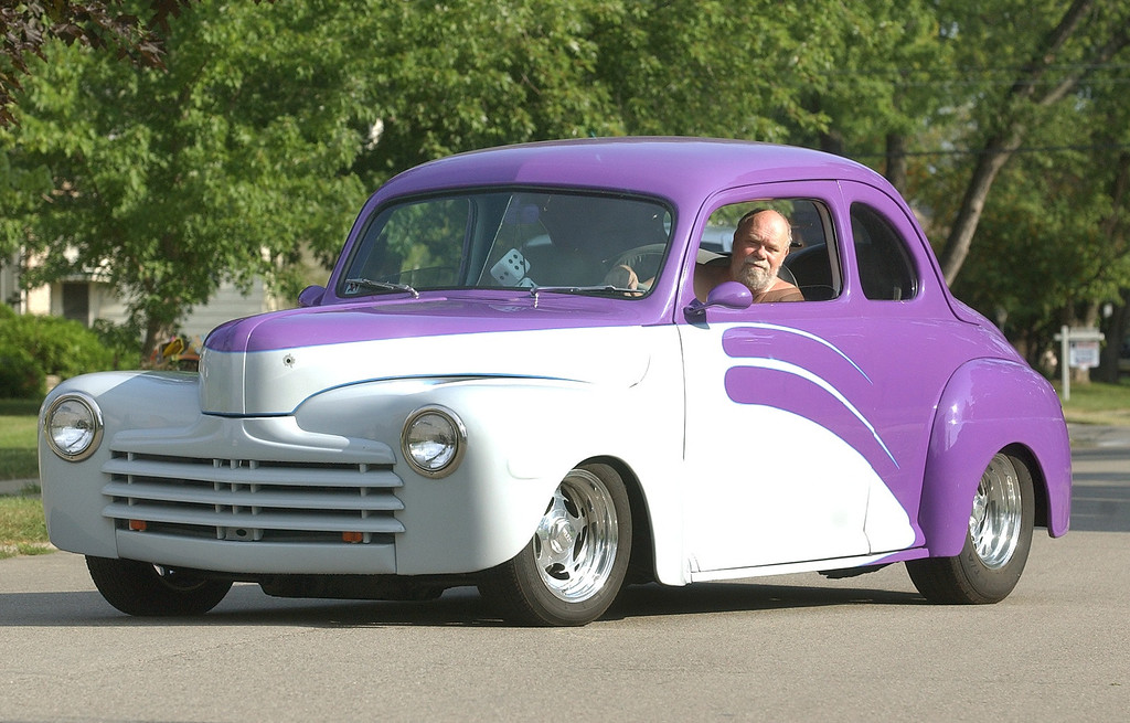 . Terry Darling, of Berkley, in his 1947 Ford Coupe, Thursday August 11, 2005. He will be taking part in next week\'s Woodward Dream Cruise.