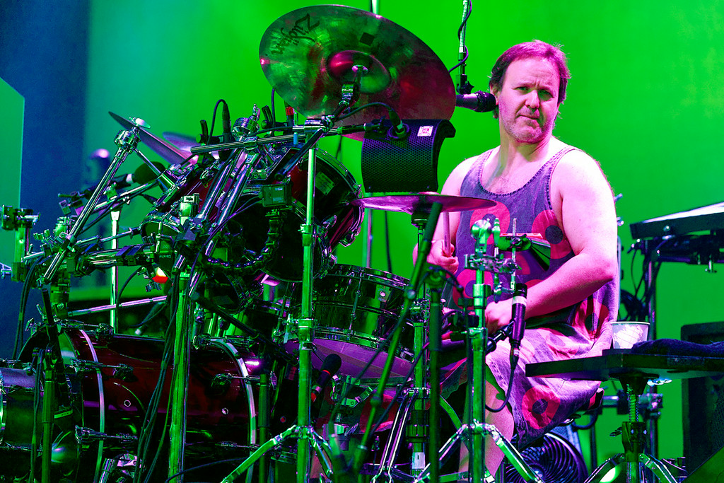 Description of . Jon Fishman of Phish performs at DTE Energy Music Theatre in  Independence Township on 7-16-14. Photo by Ken Settle