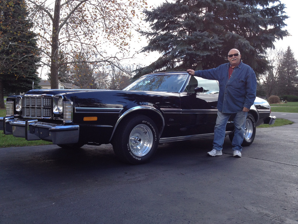 Description of . Name: Nick Palise, of Milford Cutline: This is my 1976 Ford Elite. Most likely, this will be the only one of its kind.  This was the Luxury version of the Ford Torino to compete with the Thunderbird.  They were made for only two years '75 & '76. It is all original (had to put some sporty wheels on it, otherwise it looked like a Grampa car). Now it's cool! Nick Palise, of Milford