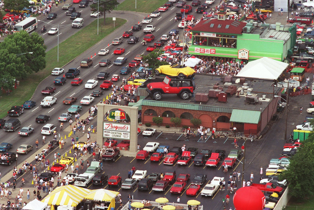 Description of . Woodward Dream Cruise from above-looking over an area of Woodward between 13 and 14 Mile. Saturday Aug 15, 1998.