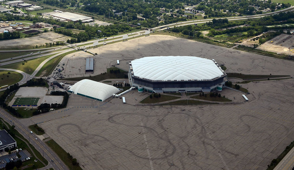 Description of . An aerial view of the Pontiac Silverdome, pictured Tuesday July 31, 2012.  (Oakland Press Photo By: Vaughn Gurganian)