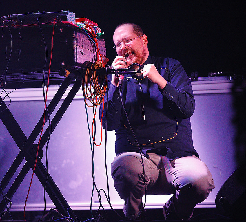 Description of . Supporting artist DJ Dan Deacon opens for Arcade Fire at The Palace on March 10, 2014. Photo by Ken Settle