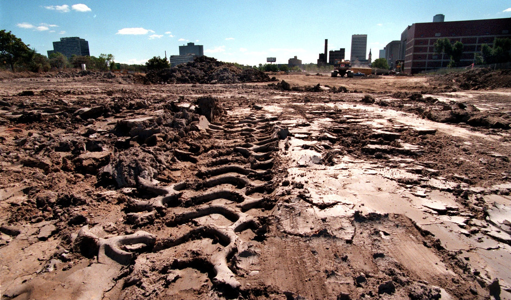 . Detroit Lions Stadium. Clearing the land around the new Comerica Park (Tiger\'s Stadium)