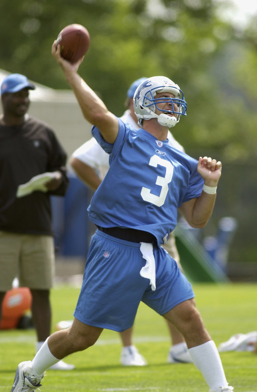 . Detroit Lions QB\'s #3 Joey Harrington during workouts this afternoon.