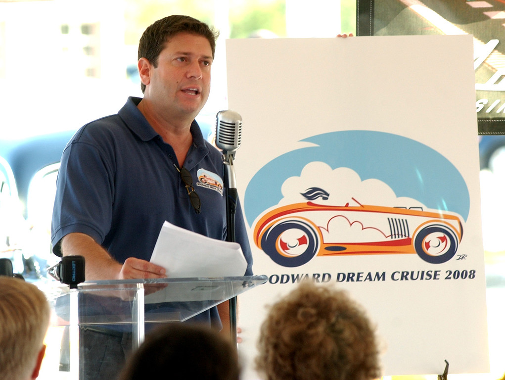 . Don Tanner, who is a founding partner of Tanner Friedman, comments on the official logo of Woodward Dream Cruise 2008.  Photo taken on Thursday, July 31, 2008, in Royal Oak, Mich.  (The Oakland Press/Jose Juarez)