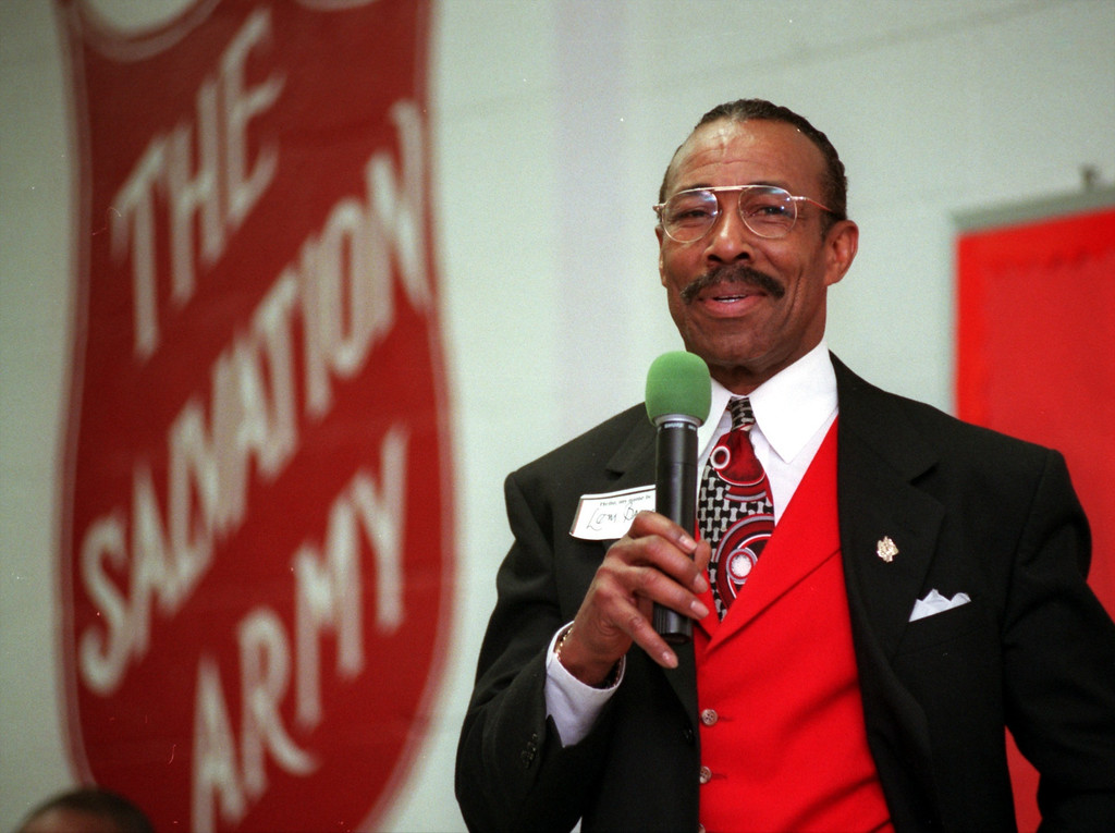 . Lem Barney, hall of fame cornerback from the Detroit Lions, speaks at the Salvation Army\'s civic luncheon.  The annual luncheon is to honor the groups volunteers.