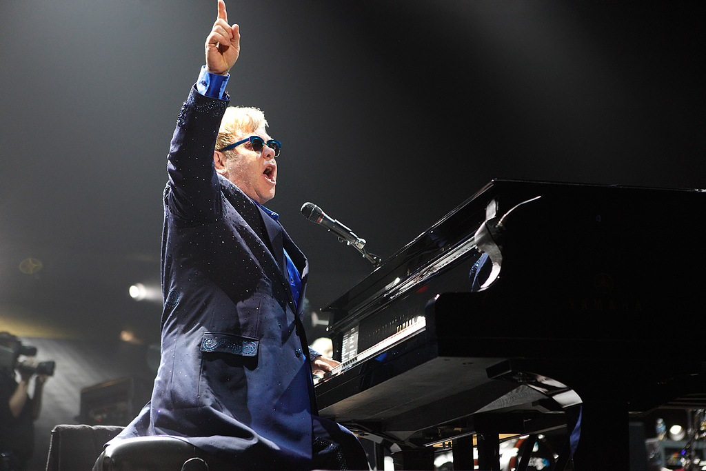 Description of . Elton John performs at Joe Louis Arena on Friday night. Photo by Ken Settle