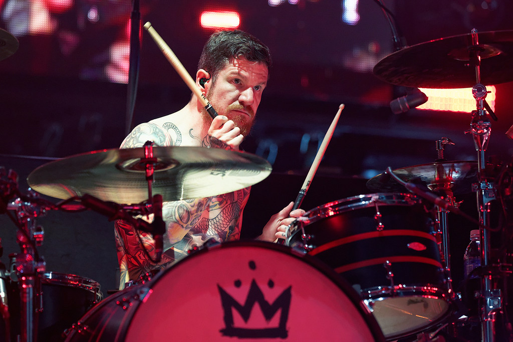 Description of . Fall Out Boy's Andy Hurley at DTE on 7-8-14. Photo by Ken Settle