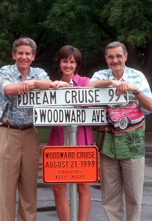 Description of . (f.left) Channel 7\'s Guy Gordon, Joanne Purtan and Oldies 104.3 radio personality Dick Purtan will the the hosts of the 1999 Dream Cruise August 21st.