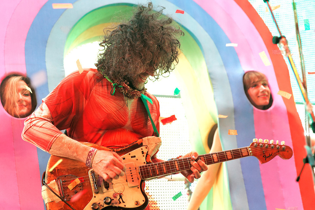 Description of . Wayne Coyne of The Flaming Lips at Fillmore Detroit on 6-12-14. Photo by Ken Settle