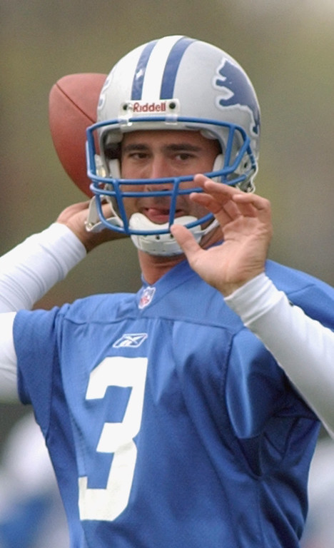 . Detroit Lions quarterback and first round draft pick Joey Harrington (#3) practices his throwing during mini-camp, Saturday, April 26, 2002, in Allen Park, Mich.