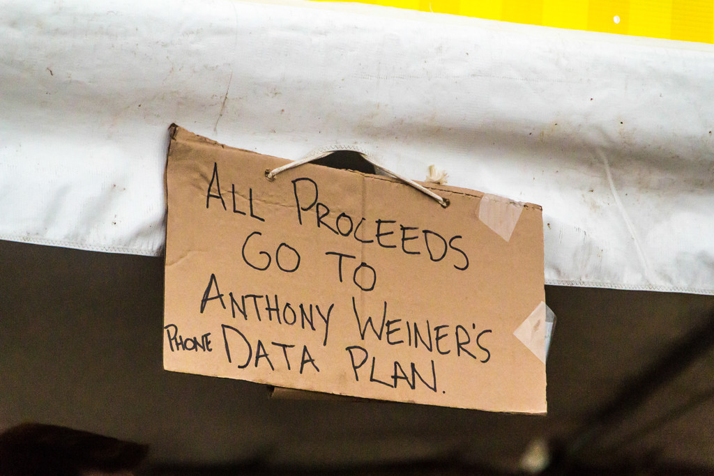 Description of . Some of the vendors were more clever than others, like this political jab at Anthony Weiner by one of the local food vendors.