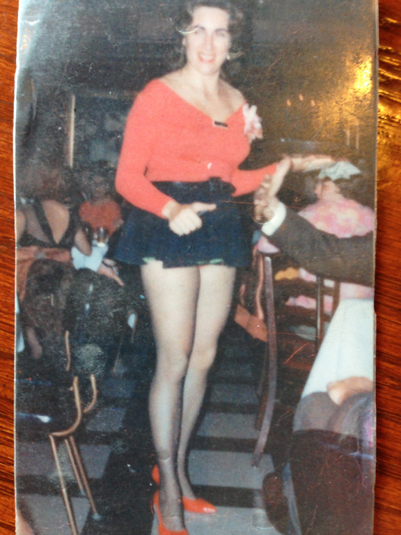 Description of . Bernie Pitts in her 30s, waitressing at a nightclub that no longer exists. This is a photo she carried with her in her purse.
