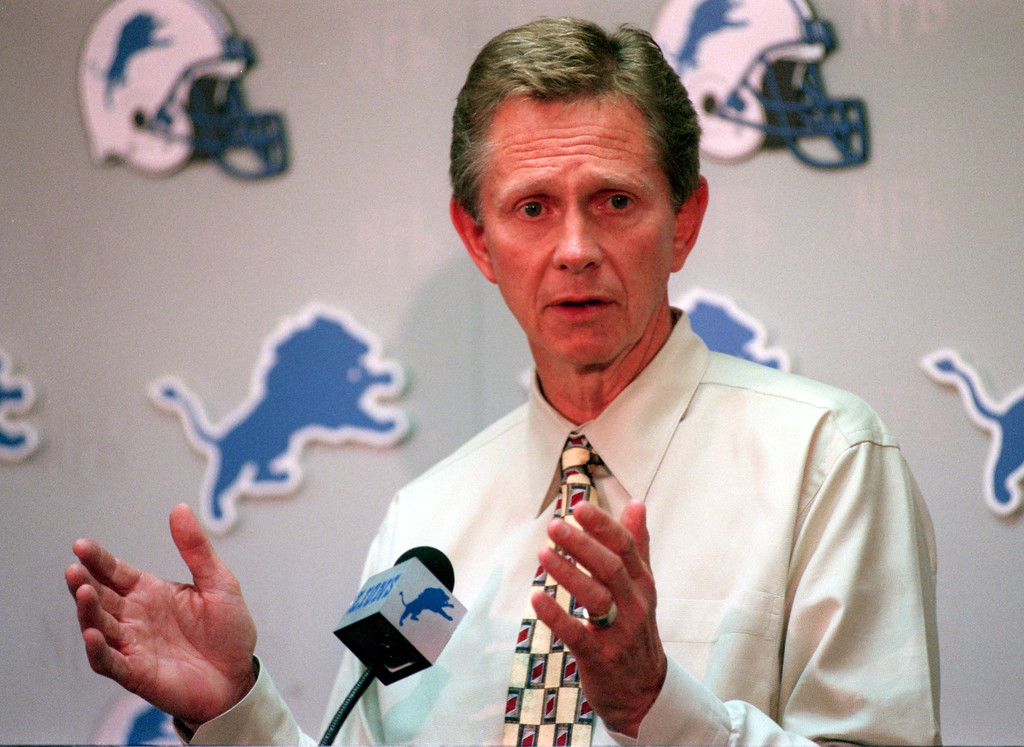 . Detroit Lions Chuck Schmidt at a press conference today explaining the retirement of Barry Sanders to the media as best he understands it, and how it will affect the Lions.