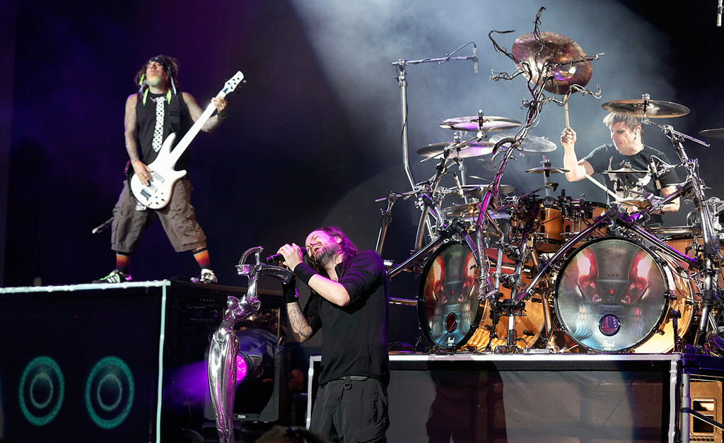 Description of . Korn performs at Mayhem Festival on Thursday, July 18, 2014, at DTE Energy Theatre, Independence Township. Photo by Ken Settle