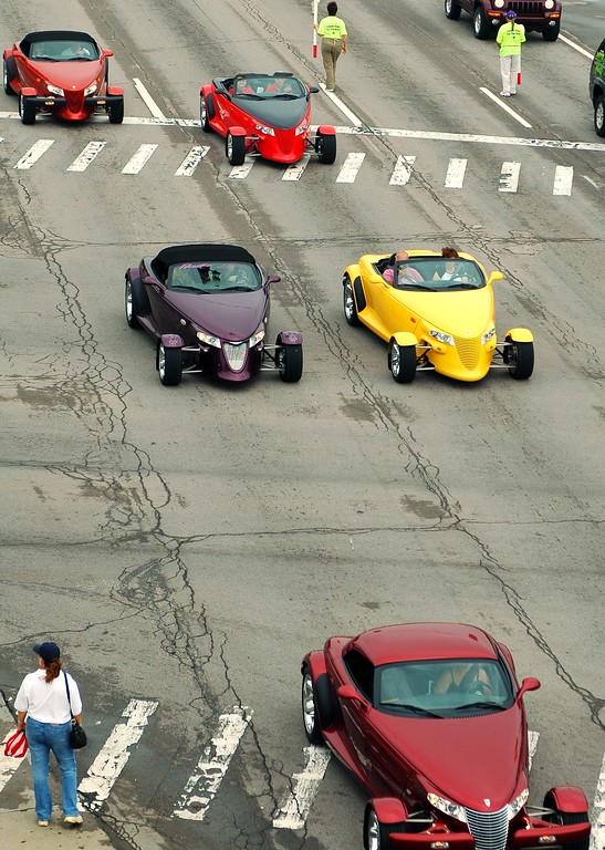 . Shortly after the rain let up on Saturday morning, a line of Plymouth Prowlers could be seen cruising Woodward at Fifteen Mile from the lift at Peabody\'s.