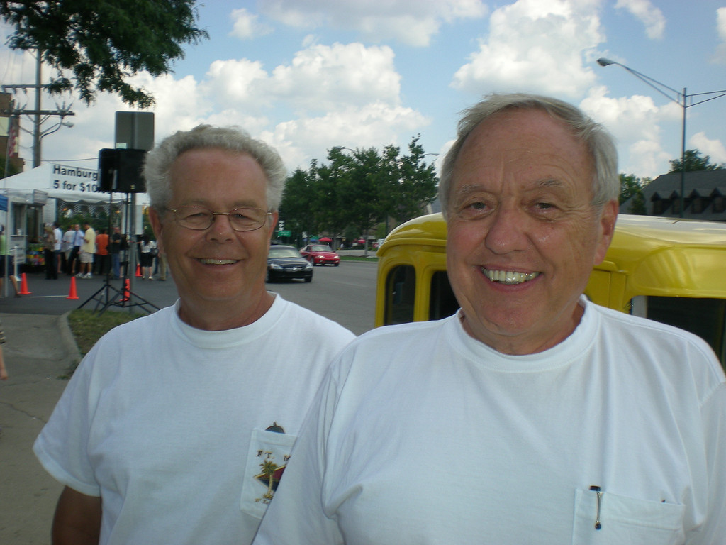 . Bob Craig, left, and friend Lyle Metzger, both of Warsaw, Ind., came into town Thursday (Aug. 14) in Metzger\'s 1930 Model A Ford street rod to enjoy the Woodward Dream Cruise.