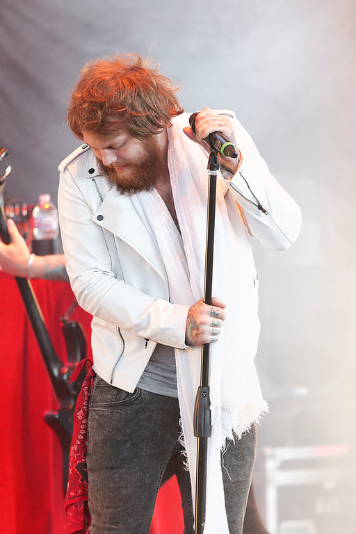 Description of . Asking Alexandria's Danny Worsnop performs at Mayhem Festival on Thursday, July 18, 2014, at DTE Energy Theatre, Independence Township. Photo by Ken Settle