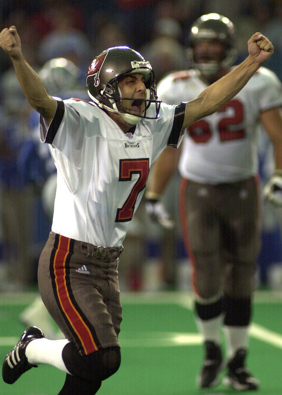 . Tampa Bay kicker Martin Gramatica celebrates his 35-yard field goal with four seconds left to play in the game to beat the Detroit Lions 20-17 at the Pontiac Silverdome Sunday.
