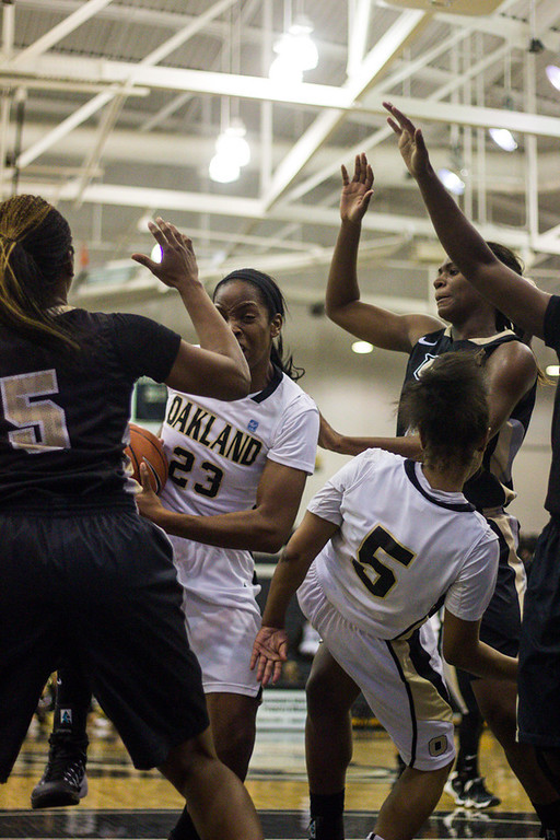 Description of . The players struggle to get the ball past their UCF defenders. Photo by Dylan Dulberg