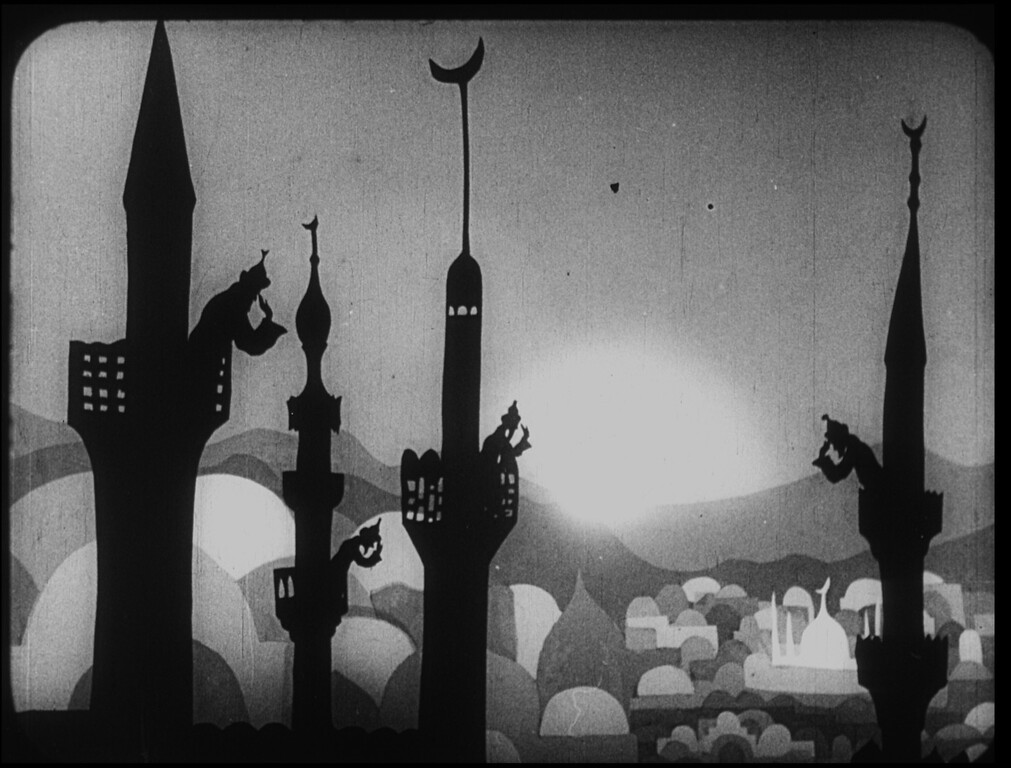 Description of . The Adventures of Prince Achmed, Lotte Reiniger (spires) is part of the exhibit