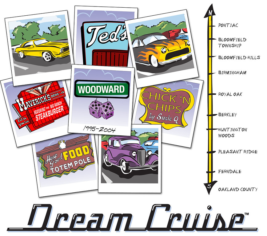Description of . Official Woodward Dream Cruise 10th anniversary artwork unveiled at Autorama at Cobo Center in Detroit, Friday February 27, 2004.