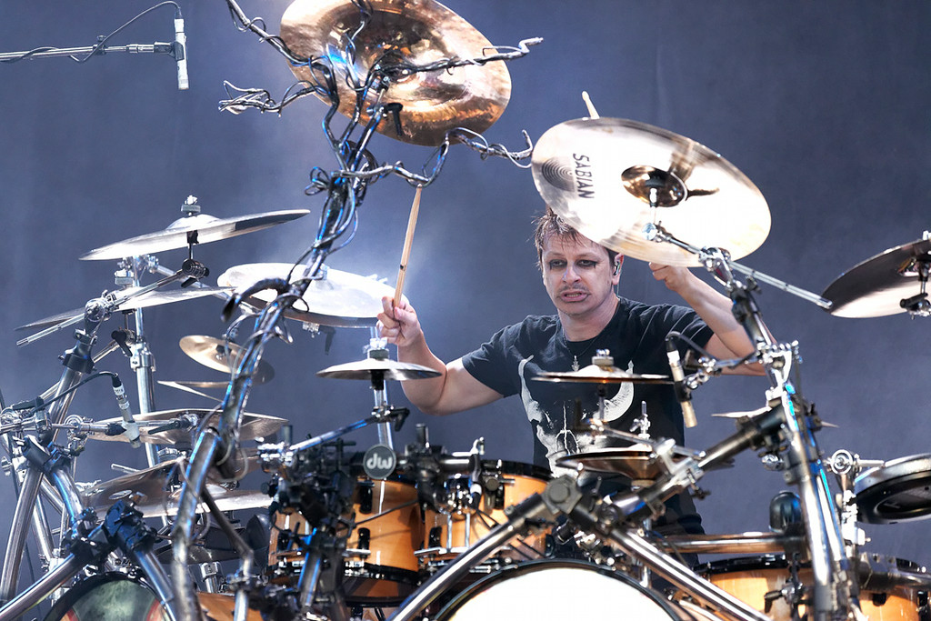 Description of . Korn's Ray Luzier performs at Mayhem Festival on Thursday, July 18, 2014, at DTE Energy Theatre, Independence Township. Photo by Ken Settle