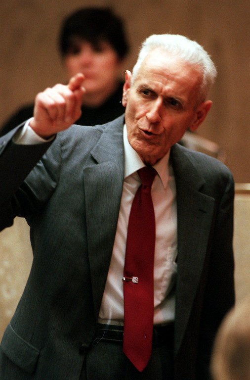 . Doctor Jack Kevorkian gives his closing arguments to the jurors before Oakland County Circuit Judge Jessica Cooper. Kevorkian is chared with first-degree murder for the lethal injection death of Thomas Youk.