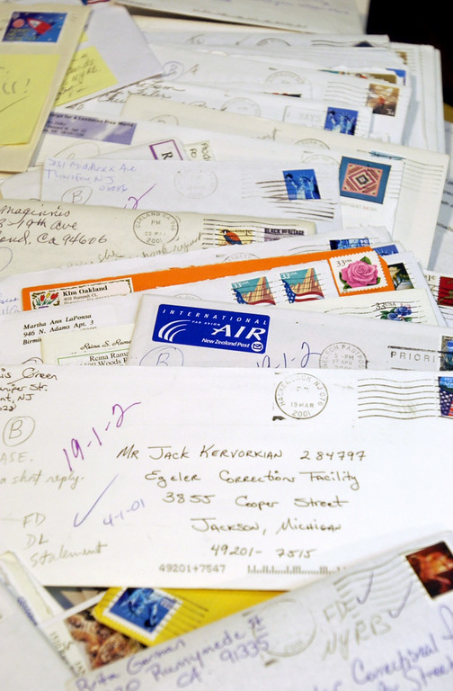 . Piles and piles of letters from all over the world, addressed to the state prsion where Dr. Jack Kevorkian resides, are being kept and archived by Ruth Holmes and Pamela Green. The two are continuing to lead the charge making sure his work isn\'t forgotten and goes forward.