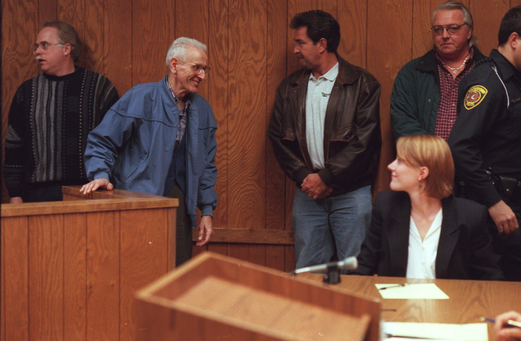 . KEVORKIAN ARRAIGNMMENT. A smiling  Dr. Jack Kevorkian enters the courtroom of  Magistrate, Robert A. Crawford in  Waterford Twp\'s . 51st District Court for his arraignment  on three felony counts, including Assisted Suicide and First Degree Murder. Kevorkian was released on Personal Bond.
