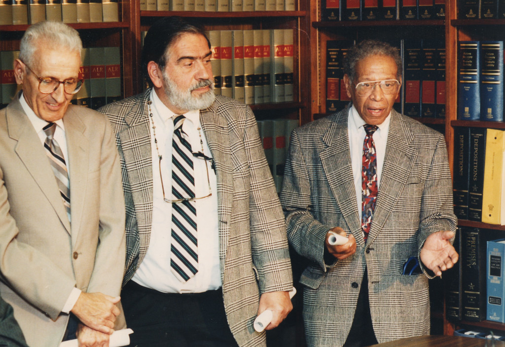 ". 10/30/1995- During the ""Physicians of Mercy\"" press conference. Left to right- Dr. Jack Kevorkian, Dr. Stanley Levy and Dr. Roy Cooley."