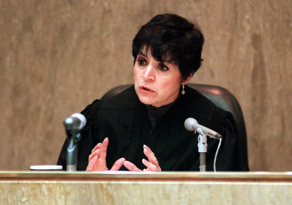 . Oakland County Circuit Judge Jessica Cooper advises the lawyers before they give their closing statements during the Doctor Jack Kevorkian first-degree murder trail.  Kevorkian is chared with first-degree murder for the lethal injection death of Thomas Youk.