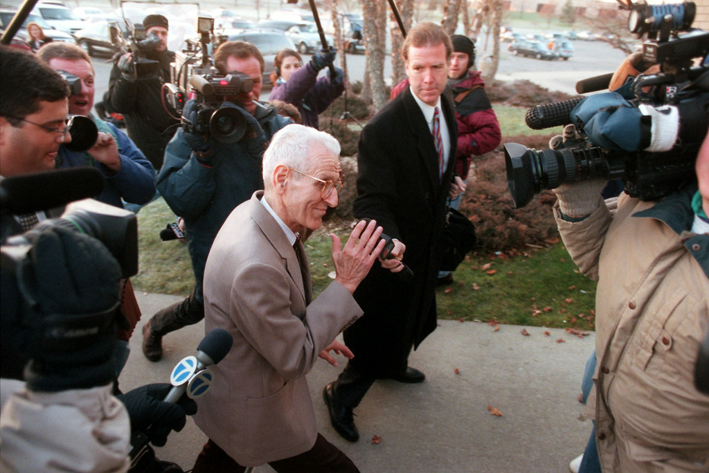 . Jack Kevorkian arrives at 51st District Court in Waterford Township for a preliminary hearing for first degree murder charges Wednesday morning.