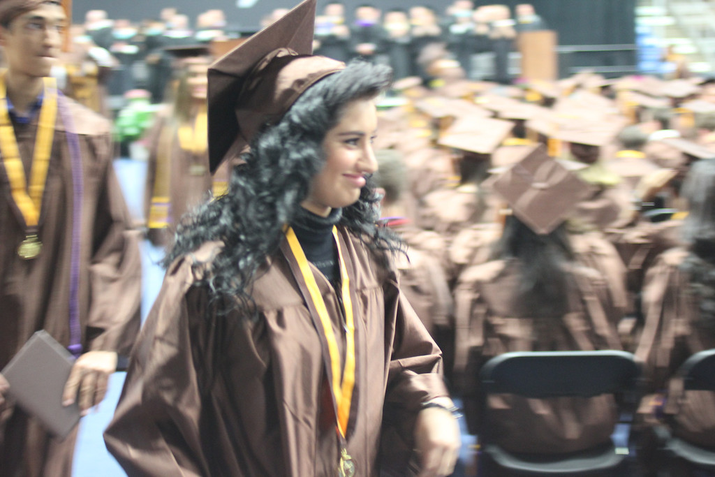 """. North Farmington High School senior and \""""American Idol\"""" runner-up Jena Irene Asciutto received her diploma Sunday, June 8, at Compuware Ice Arena in Plymouth. Photo by Erin Hampton/Special to The Oakland Press"""