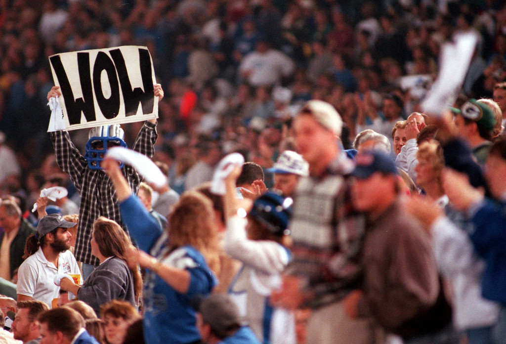 . A Detroit Lions fan holds up a sign twords the end of the game against the Green Bay Packers during Thursday\'s night\'s game at the Pontiac Silverdome.