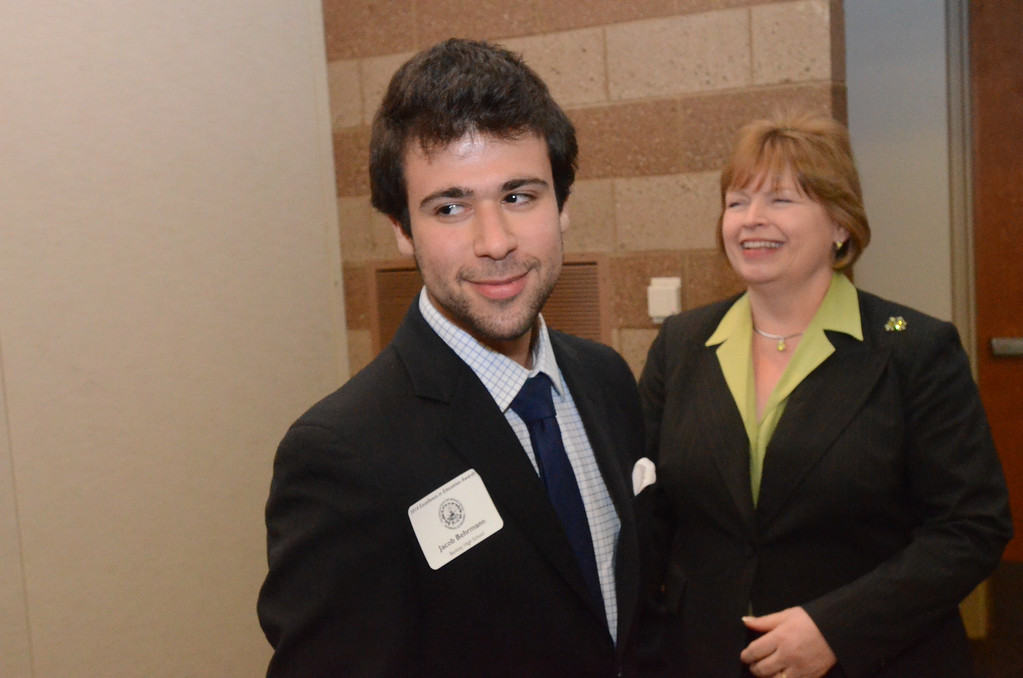 . Jacob Behrmann of Berkley High School is pictured with Dr. Terri Spencer.