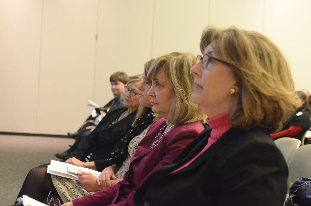 . Jean MacLeod, social media specialist at Oakland Schools, watch as schools our honored at Excellence in Education