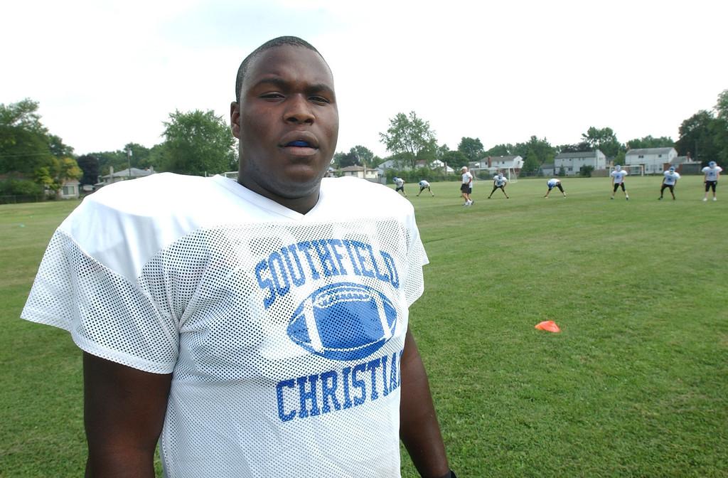 . Southfield Christian High School football player-- Shafer Johnson.  Photo taken on Thursday, August 12, 2010, at Southfield Christian HS in Southfield, Mich.  (The Oakland Press/Jose Juarez)