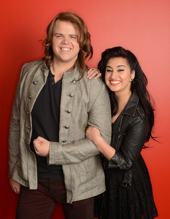 . AMERICAN IDOL XIII:  The Final 2: L-R: Caleb Johnson and Jena Irene.  CR: Michael Becker / FOX. Copyright 2014 / FOX Broadcasting.