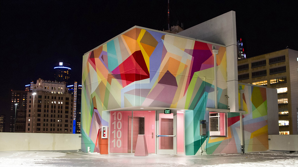 """. One of the two dozen mural created last summer by artists from around the world for \""""The Z\"""" parking garage in downtown Detroit."""