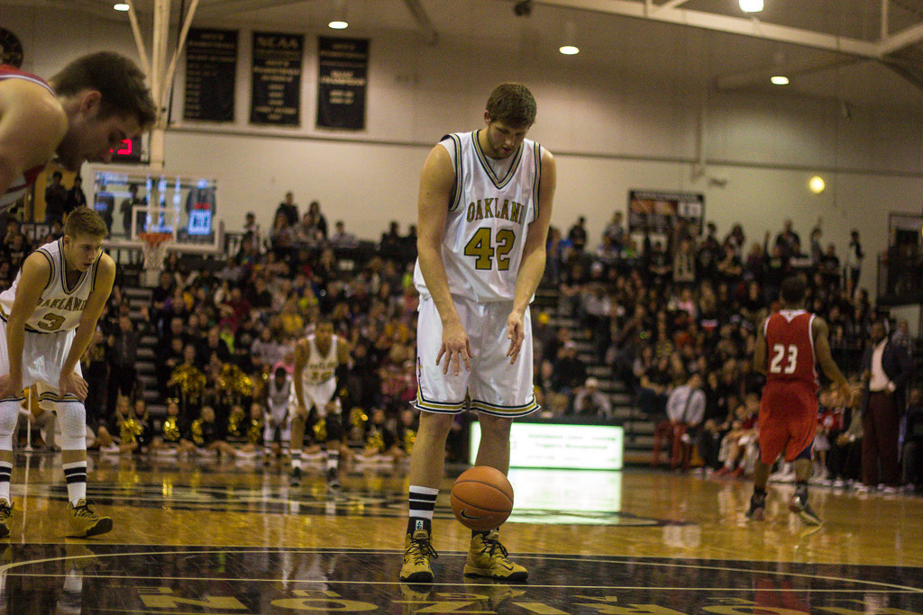 . Petros prepares for his free throw. Photos by Dylan Dulberg/The Oakland Press