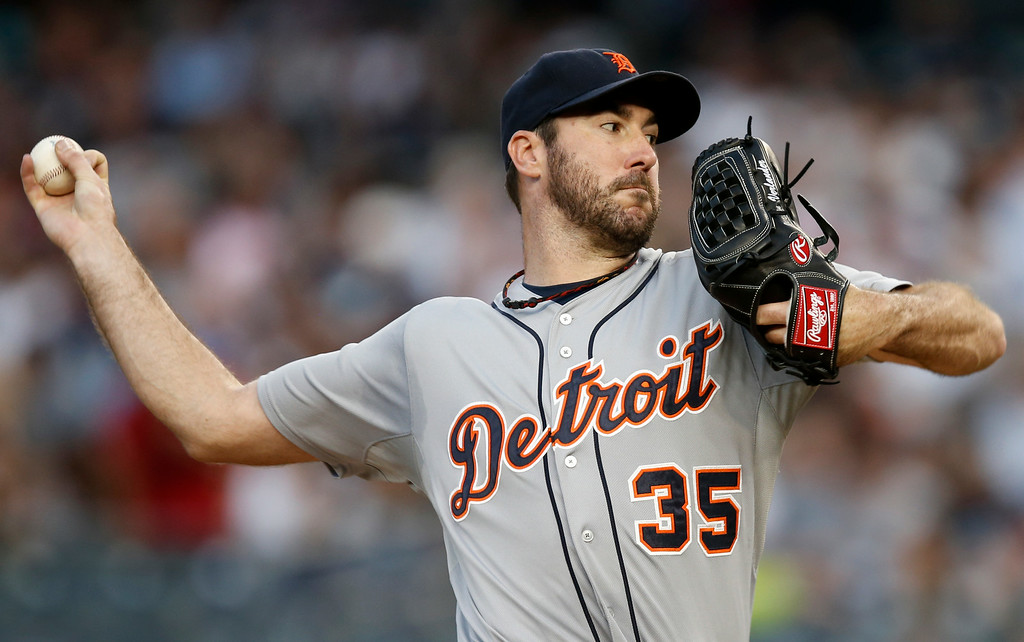 . Detroit Tigers starting pitcher Justin Verlander delivers in a baseball game against the New York Yankees at Yankee Stadium in New York, Wednesday, Aug. 6, 2014.  (AP Photo/Kathy Willens)