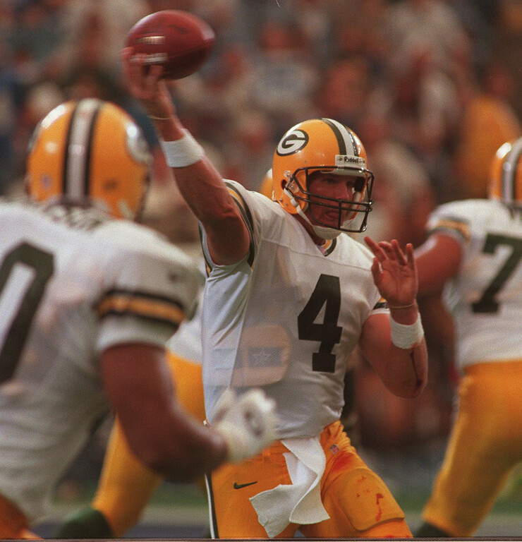 . Green Bay Packer quarterback, Brett Farve, blood stained, was under pressure all day against the Detroit Lions at the Pontiac Silverdome.