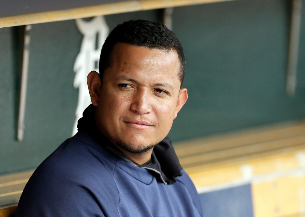 . Detroit Tigers first baseman Miguel Cabrera is seen before an interleague baseball game against the Colorado Rockies, Friday, Aug. 1, 2014, in Detroit. (AP Photo/Carlos Osorio)