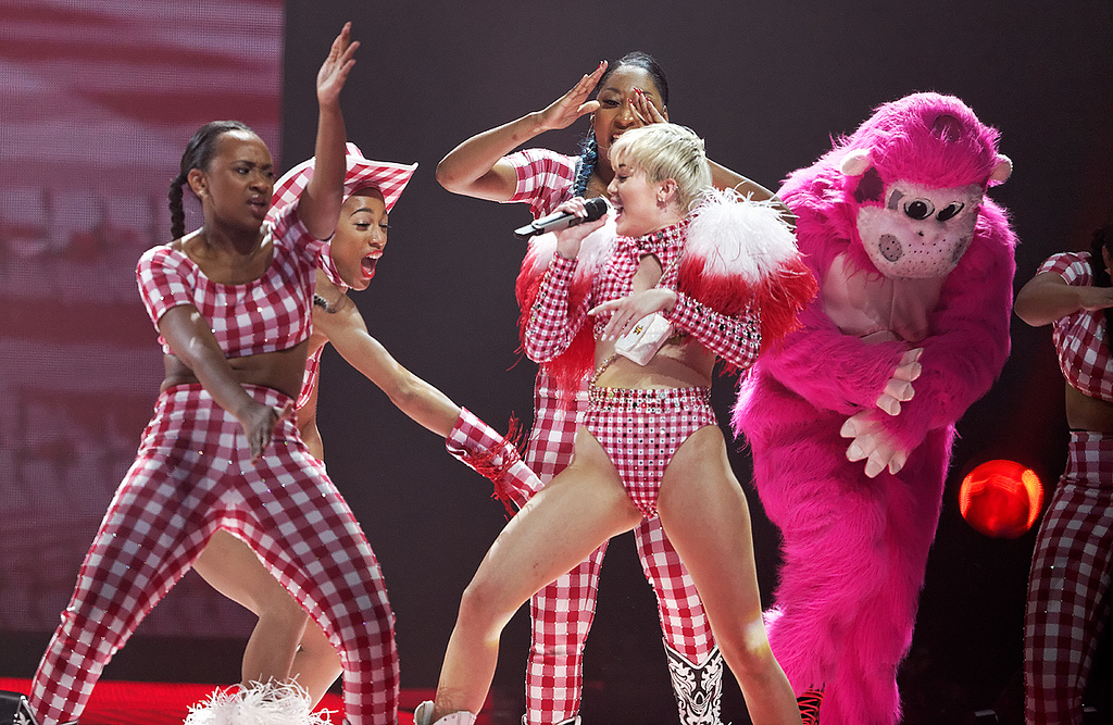 . Miley Cyrus performs at The Palace of Auburn Hills on April 12, 2014. Photo by Ken Settle