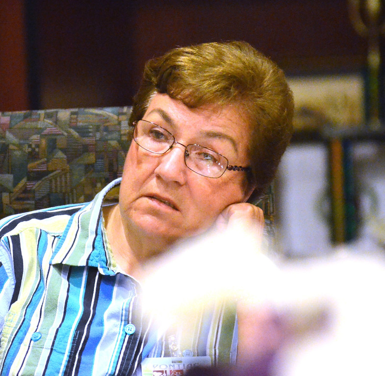. Maureen Young at the Committee of 50 meeting, held at Welcome Missionary Baptist Church in Pontiac.    Tuesday, July 23, 2013.  The Oakland Press/TIM THOMPSON