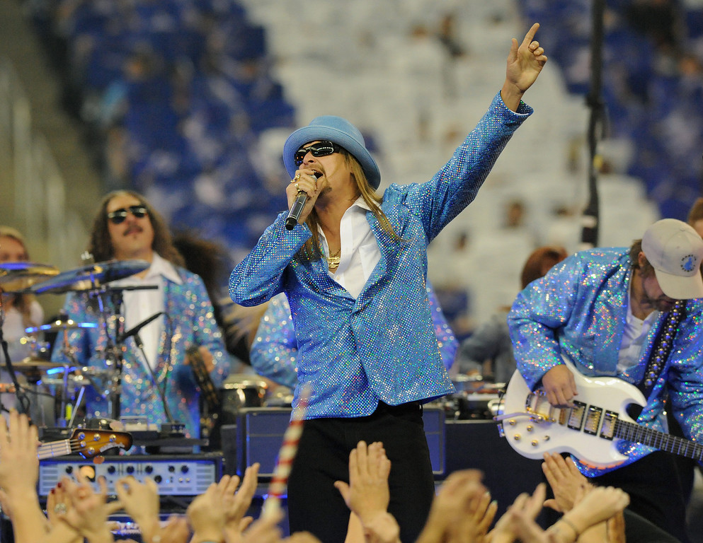 . Kid Rock performs for the crowd at halftime.  The Houston Texans beat the Detroit Lions,  34-31.  Photo taken on Thursday, November 22, 2012, at Ford Field in Detroit, Mich.  (Special to The Oakland Press/Jose Juarez)